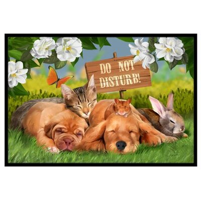 Golden Retriever and Sharpei Do Not Disturb Doormat Rug Size: 2 x 3