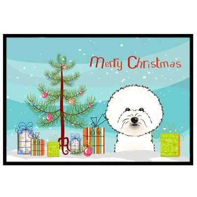 Christmas Tree and Bichon Frise Doormat Mat Size: 2 x 3