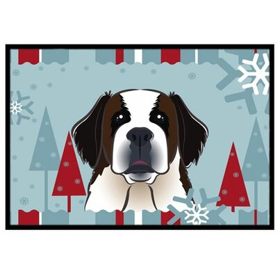 Winter Holiday Saint Bernard Doormat Rug Size: 2 x 3