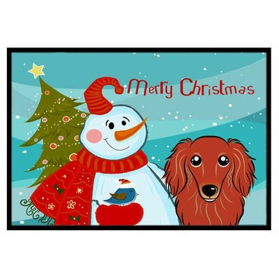 Snowman with Longhair Dachshund Doormat Rug Size: 2 x 3, Color: Red