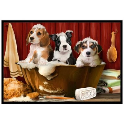 Beagle, Boston Terrier and Jack Russel in the Tub Doormat Rug Size: 2 x 3