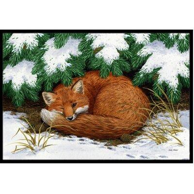 Naptime Fox Doormat Rug Size: 2' x 3'