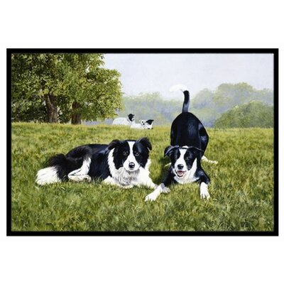 Lets Play Border Collie Doormat Rug Size: 2 x 3