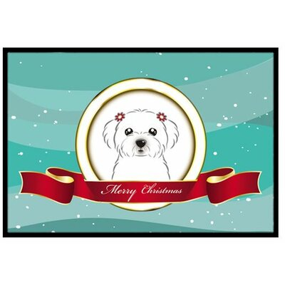 Maltese Merry Christmas Doormat Mat Size: 2 x 3