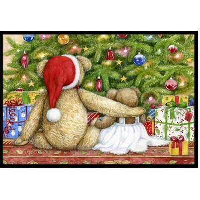 Christmas Teddy Bears with Tree Doormat Mat Size: 16 x 23