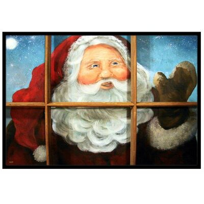 Kindly Visitor Santa Claus Christmas Doormat Mat Size: 2 x 3