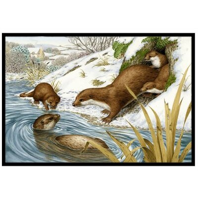 Playtime Otters Doormat Rug Size: 16 x 23