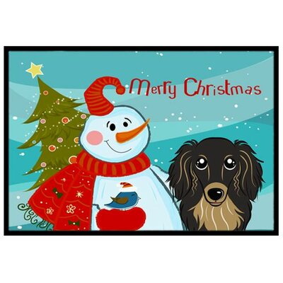 Snowman with Longhair Dachshund Doormat Mat Size: 2 x 3, Color: Black/Tan