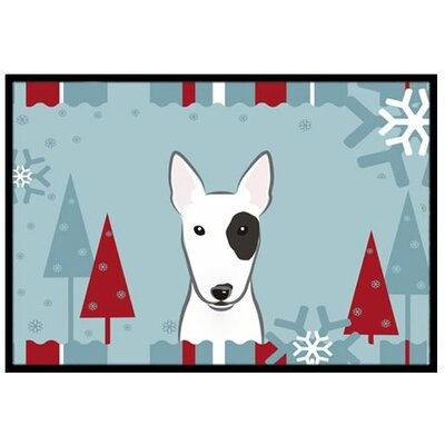 Winter Holiday Bull Terrier Doormat Mat Size: 16 x 23