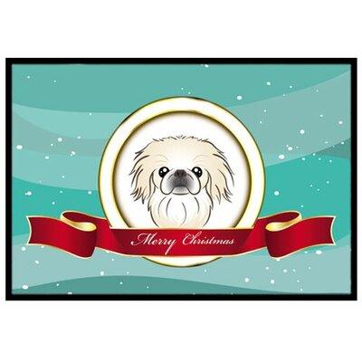 Pekingese Merry Christmas Doormat Mat Size: 2 x 3