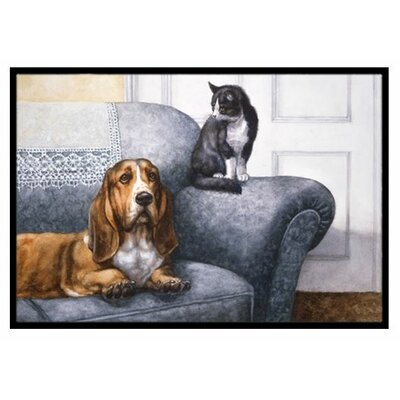 Basset Hound and Cat on Couch Doormat Rug Size: 2 x 3