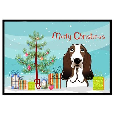 Christmas Tree and Basset Hound Doormat Rug Size: 2 x 3