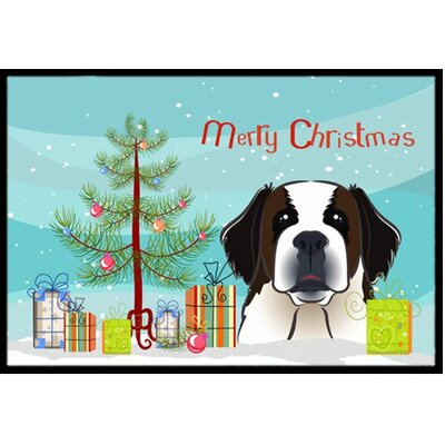 Christmas Tree and Saint Bernard Doormat Rug Size: 2 x 3