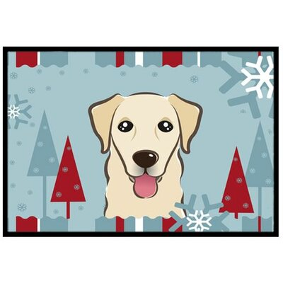 Winter Holiday Golden Retriever Doormat Mat Size: 2 x 3