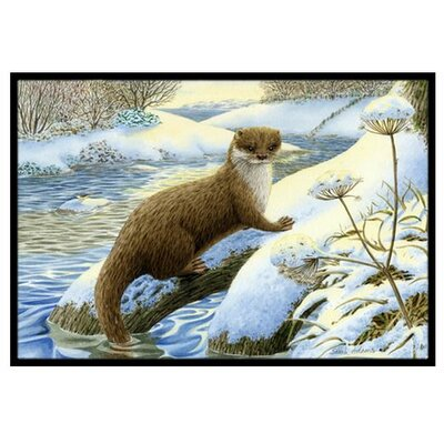 Winter Otter Doormat Rug Size: 16 x 23