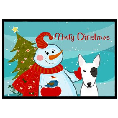 Snowman with Bull Terrier Doormat Mat Size: 2 x 3