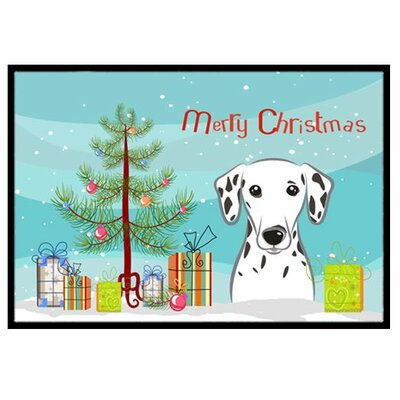 Christmas Tree and Dalmatian Doormat Mat Size: 16 x 23