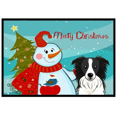 Snowman with Border Collie Doormat Rug Size: 2 x 3