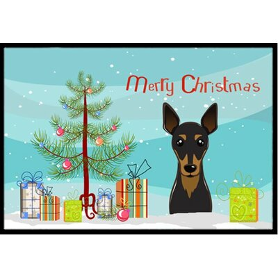 Christmas Tree and Min Pin Doormat Rug Size: 2 x 3