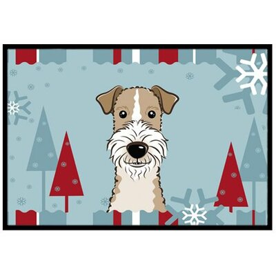Winter Holiday Wire Haired Fox Terrier Doormat Mat Size: 16 x 23