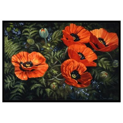 Poppies Doormat Rug Size: 16 x 23