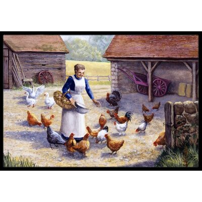 Chicken Hen Feeding Time Doormat Mat Size: 2 x 3
