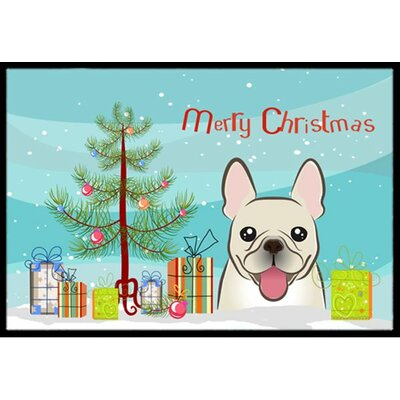 Christmas Tree and French Bulldog Doormat Mat Size: 2 x 3