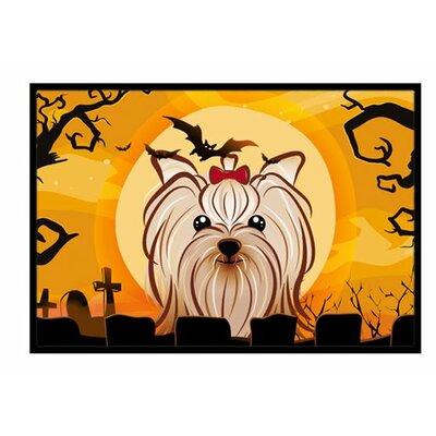Halloween Yorkie Yorkshire Terrier Doormat Rug Size: 16 x 23