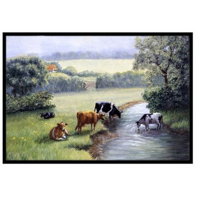 Cows Drinking at the Creek Bank Doormat Mat Size: 2 x 3
