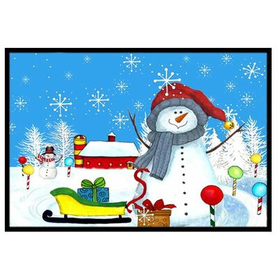 Snow Happens in the Meadow Snowman Doormat Rug Size: 16 x 23