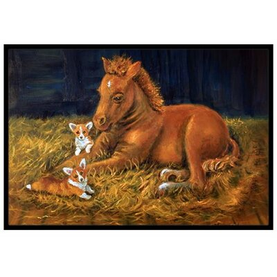 Corgi Sunrise with Colt Doormat Rug Size: 2 x 3