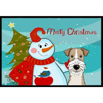Snowman with Wire Haired Fox Terrier Doormat Mat Size: 16 x 23