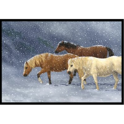 Seeking Shelter Horses Doormat Mat Size: 2 x 3