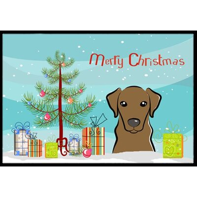 Christmas Tree and Chocolate Labrador Doormat Rug Size: 2 x 3