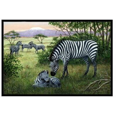 Zebras in the Field with Baby Doormat Rug Size: 16 x 23