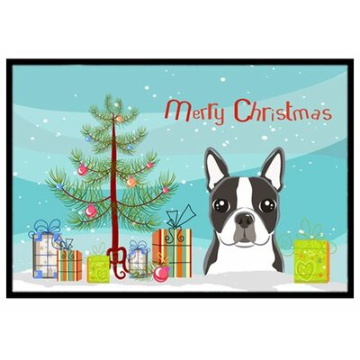 Christmas Tree and Boston Terrier Doormat Rug Size: 2 x 3