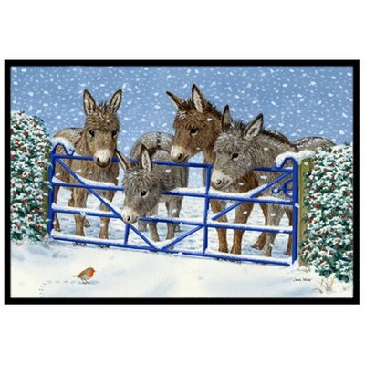 Donkeys and Robin at the Fence Doormat Mat Size: 1'6