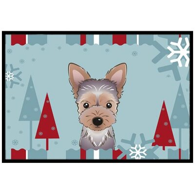 Winter Holiday Yorkie Puppy Doormat Mat Size: 2 x 3