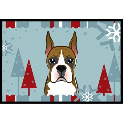 Winter Holiday Boxer Doormat Rug Size: 16 x 23