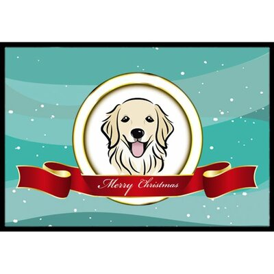Golden Retriever Merry Christmas Doormat Mat Size: 2 x 3