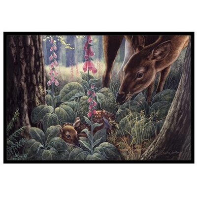 Doe and Fawn Deer Doormat Rug Size: 2 x 3