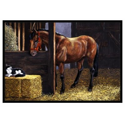 Horse In Stable with Cat Doormat Mat Size: 16 x 23