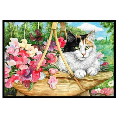 Cat In Basket Doormat Rug Size: 2 x 3