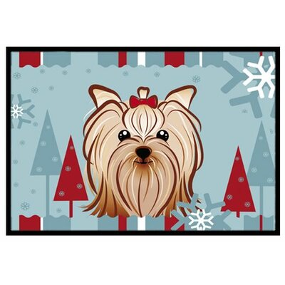 Winter Holiday Yorkie Yorkshire Terrier Doormat Mat Size: 2 x 3