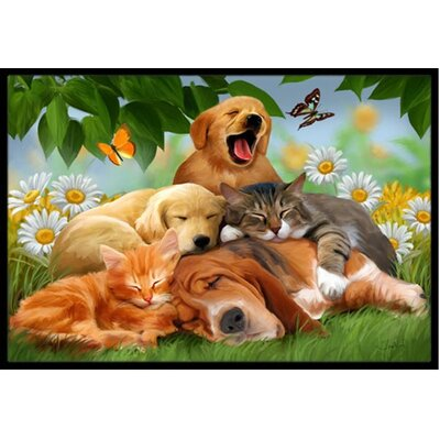Golden Retriever, Labrador and Basset Hound Sleepy Heads Doormat Mat Size: 2 x 3