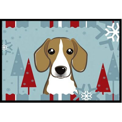 Winter Holiday Beagle Doormat Rug Size: 16 x 23