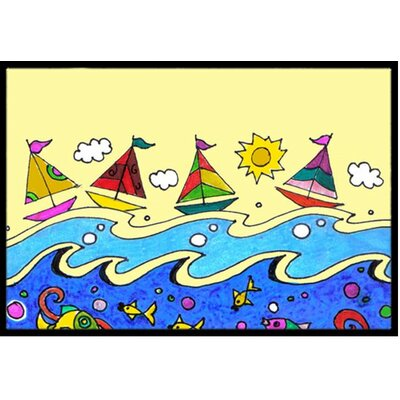 Summer Sail Away Sailboats Doormat Mat Size: 2 x 3