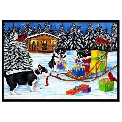 Christmas Mush Siberian Husky Doormat Mat Size: 16 x 23