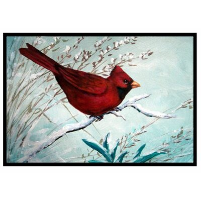 Cardinal Winter Red Bird Doormat Mat Size: 2 x 3
