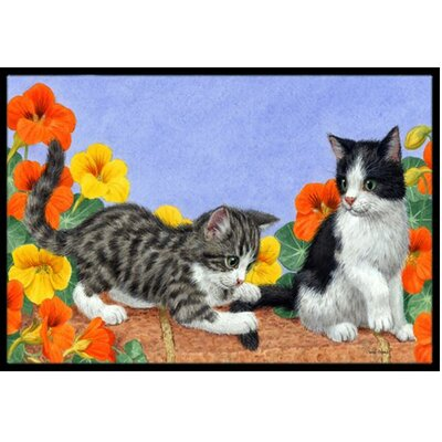 Kittens on Wall Doormat Rug Size: 2 x 3